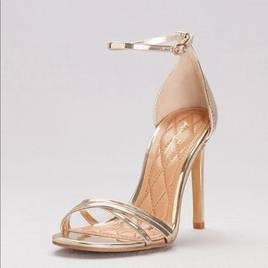 Wedding CROSS-STRAP METALLIC HEELS